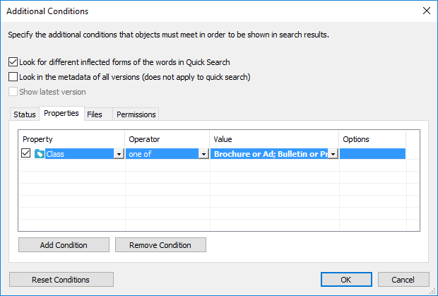 "The ""Additional Conditions"" dialog of the Advanced Search on M-Files Desktop"
