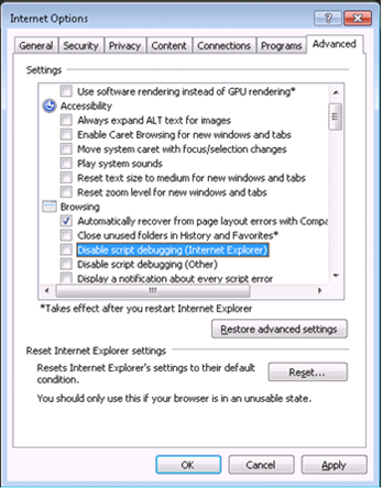 Enabling debugging within Internet Explorer
