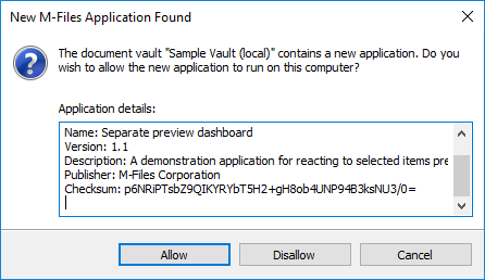 Approval dialog for a User Interface Extensibility Framework application in M-Files 2015.3