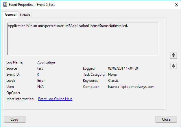 The Windows event log showing no license installed