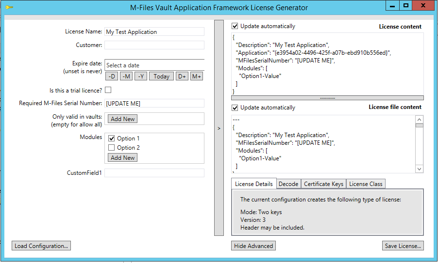 The licence generator application