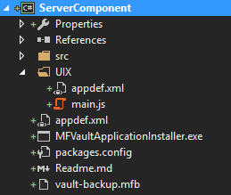 A picture of the UIX application in a folder within the VAF solution